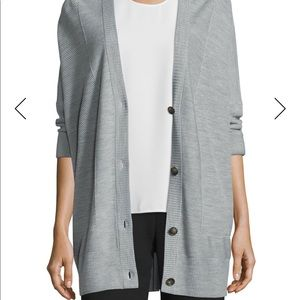 Vince Double-Face Mesh-Panel Wool/Silk Cardigan